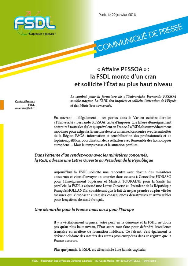 Communiqué de presse : « Affaire PESSOA » : la FSDL monte d'un cran et sollicite l'État au plus haut niveau