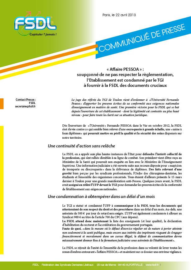 Communiqué de presse : « Affaire PESSOA » : soupçonné de ne pas respecter la règlementation, l'Etablissement est condamné par le TGI à fournir à la FSDL des documents cruciaux