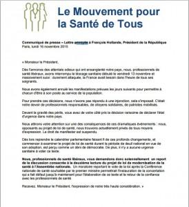 communiqué du Mouvement Pour la Santé de Tous